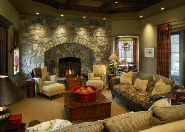 family room decorating ideas with fireplace | ... with Colonial .