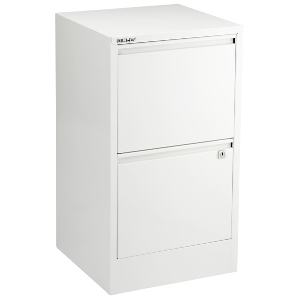 Bisley White 2- & 3-Drawer Locking Filing Cabinets | The Container .