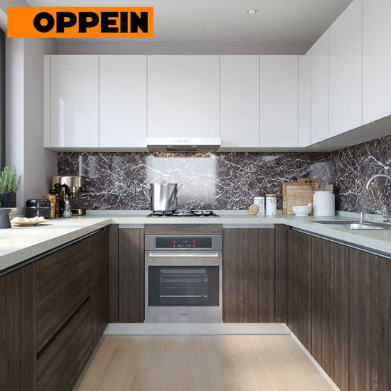 Oppein U Shaped Lacquer and HPL Bespoke Fitted Kitchen Cabinets .