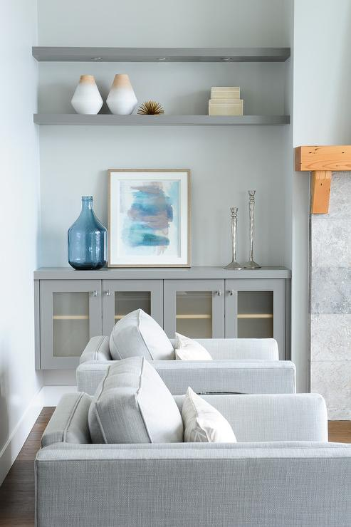 Gray Living Room Built In Cabinets with Gray Floating Shelves .