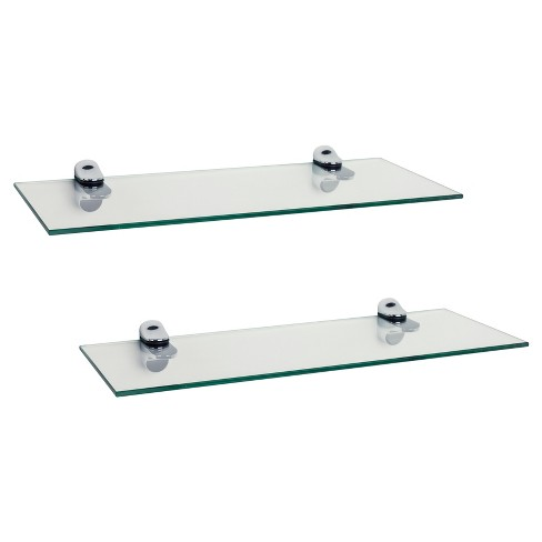 """16"""" X 6"""" 2pc Floating Glass Shelves With Chrome Brackets Clear ."""