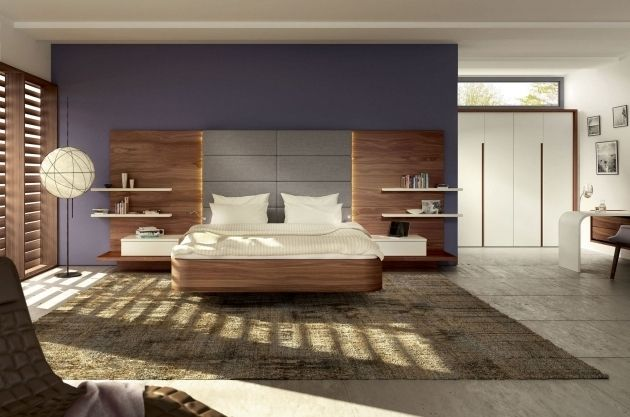 Floating Headboard With Attached Nightstands