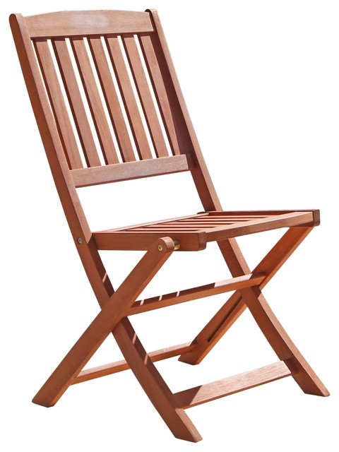 Vifah Outdoor Wood Folding Bistro Chairs (Set of 2) - Transitional .