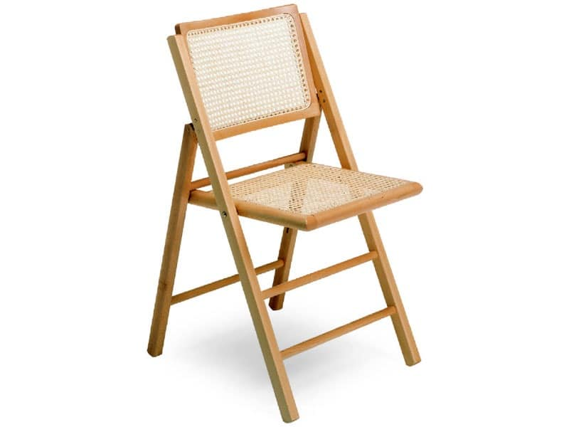 Chair with folding structure, in beech wood and cane | IDFdesi