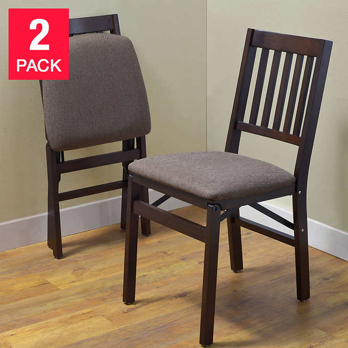 Stakmore Solid Wood Folding Chairs, Espresso Finish, 2-pa