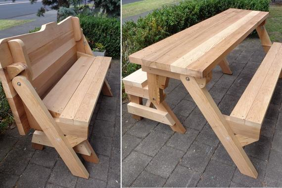 One piece folding bench and picnic table plans Downloadable | Et