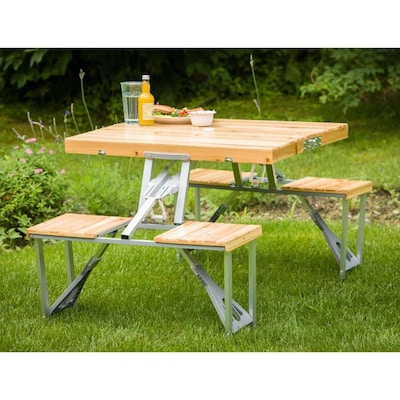 Leisure Season 2-ft 9-in Brown Wood and Aluminum Rectangle Folding .