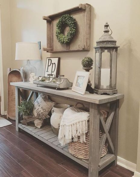 Clear lamp and lantern for foyer table | Farmhouse console table .