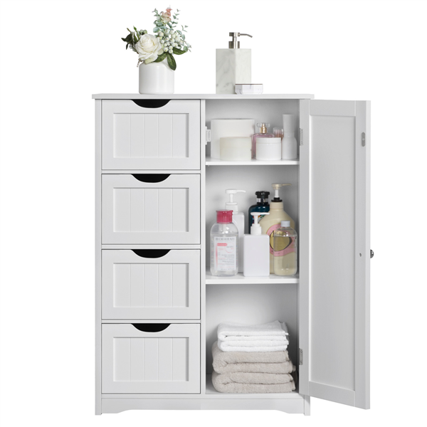 White Wooden Floor Cabinet W/ 4-Drawers Free-Standing Bathroom .