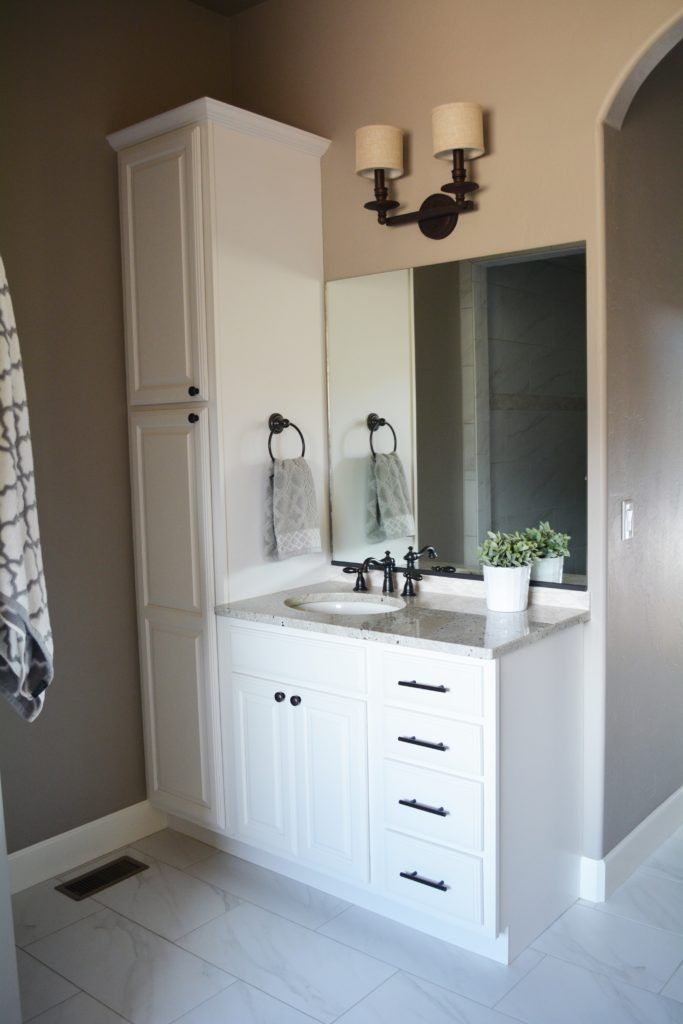 Bathroom Vanity With Attached Linen Cabinet | Bathroom vanity .