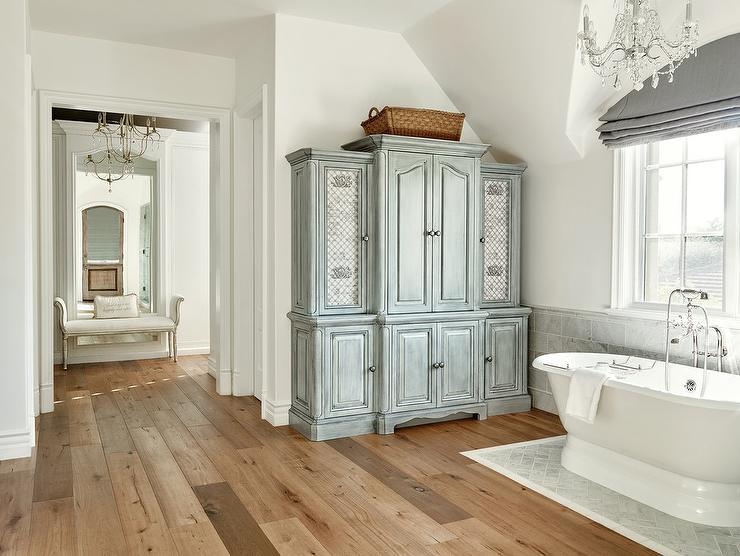 Gray Distressed Bathroom Linen Cabinet with Lattice Doors - French .