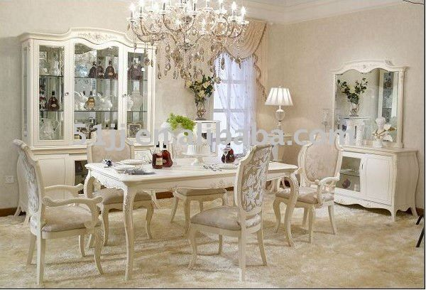 Antique French Provincial Off White Dining Room Set Furniture BJH .