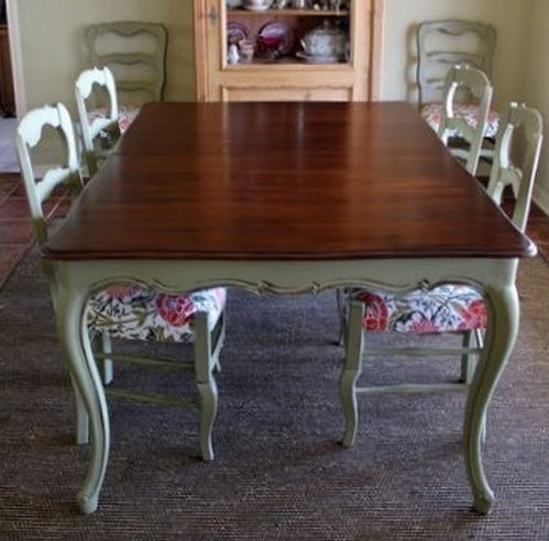 Beautiful French provincial dining room table with painted legs .