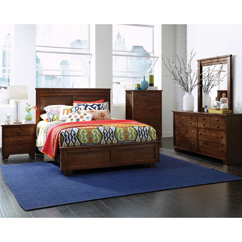 Contemporary Brown 4 Piece Full Bedroom Set - Diego   RC Willey .