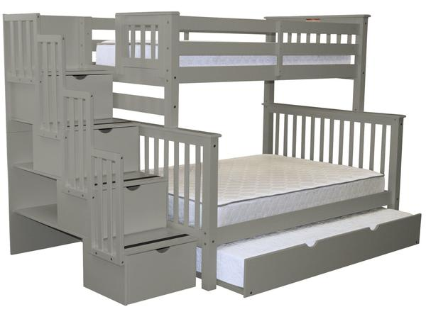 Bunk Beds Twin over Full Stairway Gray | Trundle | $9