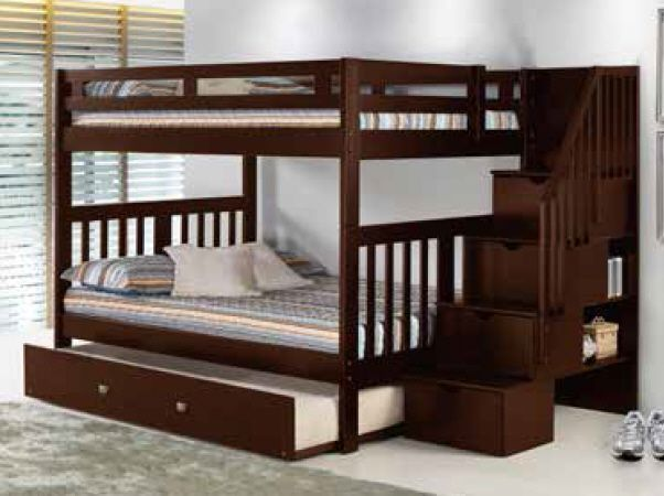 Solid Wood Espresso FULL Over FULL STAIRCASE Bunk Bed with Trundle .