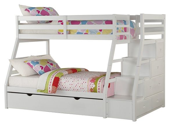 Warner White Twin over Full Bunk Bed with Stai