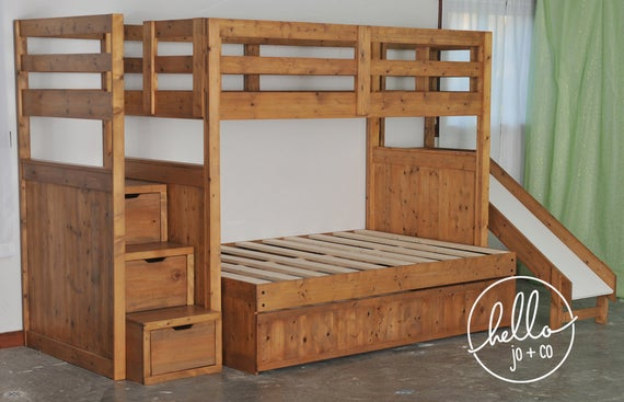 Twin over Full over twin trundle solid wood bunk bed with | Et