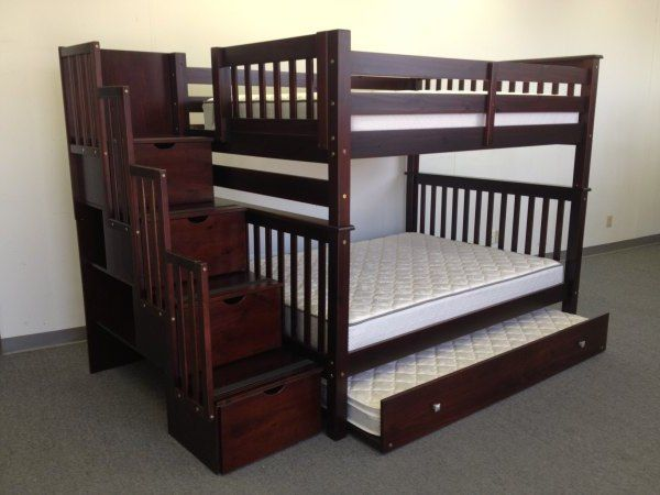 Bunk Beds Full over Full Stairway Cappuccino + Trundle | Full bunk .