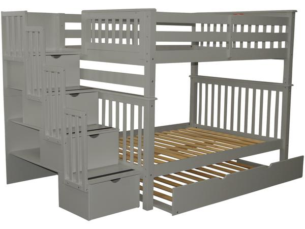 Bunk Beds Full over Full Stairway Gray | Trundle $12