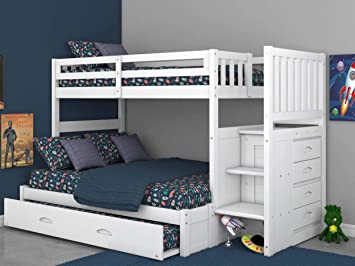 Amazon.com: Twin Over Full Stair Stepper Bed with Trundle in White .
