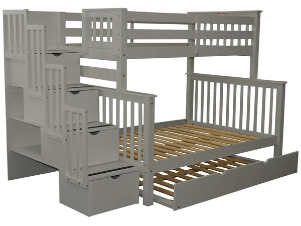 Bunk Beds Twin over Full Stairway Gray | Full Trundle $10