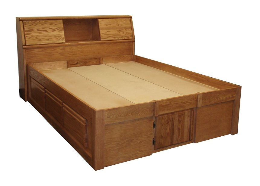 FD-3024 - Contemporary Oak Pedestal Bed with 6 Drawers - Full size .