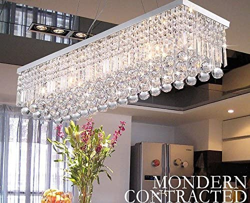 CRYSTOP Rectangle Crystal Chandeliers Dining Room Modern Ceiling .