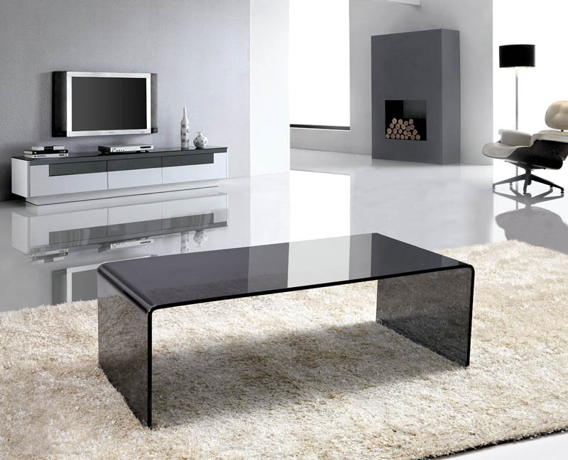 Viva Modern Arch (Waterfall) Coffee Table | Glass | Contemporary .