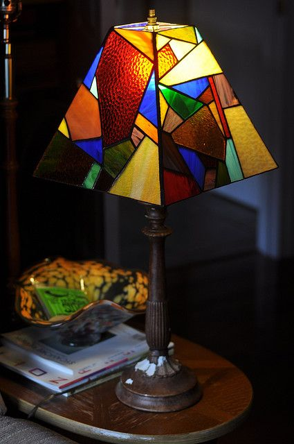 scatter lamp shade | Stained glass lamp shades, Stained glass .