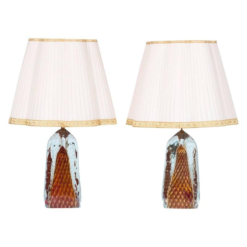 Pair of Italian Table Lamps in Murano Glass Red with 24-Karat Go