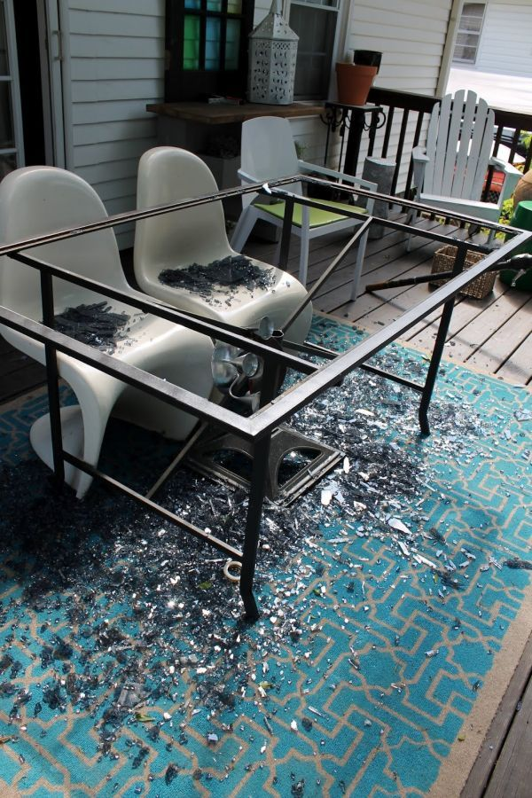 From a crashed glass table to a wood one | Diy table design, Patio .