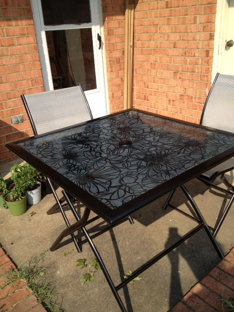 Decoupage Glass Tabletop | Patio table redo, Painted patio table .
