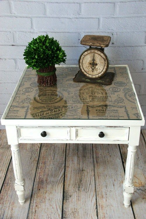 Burlap Topped Side Table | End table makeover, Decoupage furniture .