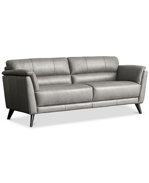 """Furniture CLOSEOUT! Lucais 83"""" Leather Sofa, Created for Macy's ."""