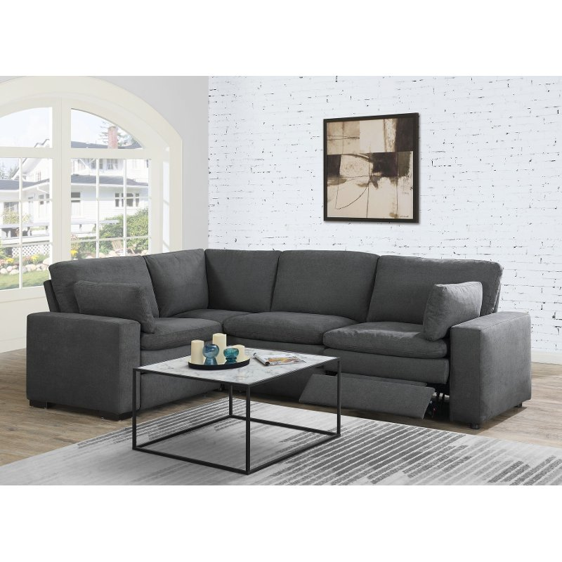 Charcoal Gray 4 Piece Power Reclining Sectional Sofa - Infinity .