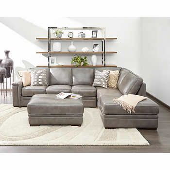 Alandro Grey Top Grain Leather Sectional with Pull-out Bed and .