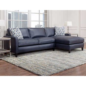 Griffith Top Grain Leather Sectional, Navy Blue   Leather sofa .