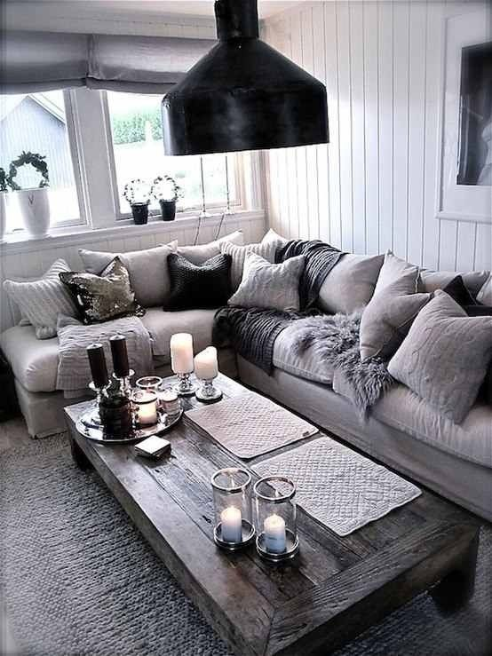 20 fantastic grey living rooms - The Grey Home. I like that coffee .
