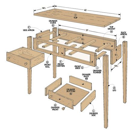 Shaker Hall Table   Woodsmith Plans   Shaker woodworking plans .