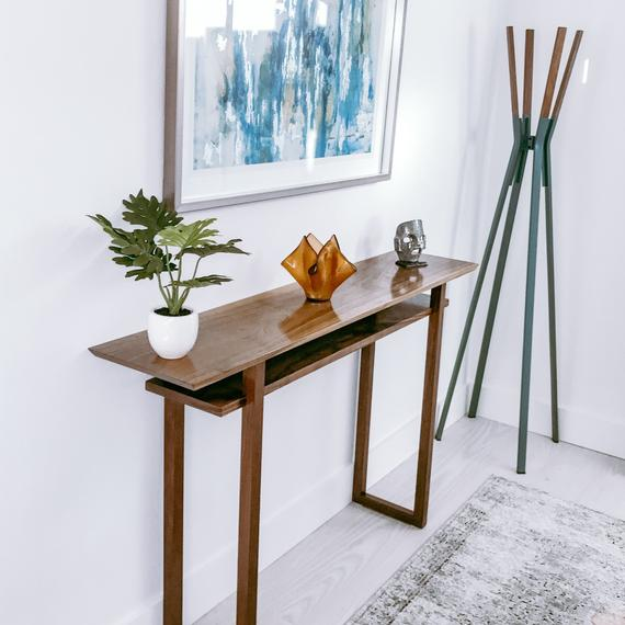 Custom Wood Table Narrow Console Wooden Entryway Furniture   Et