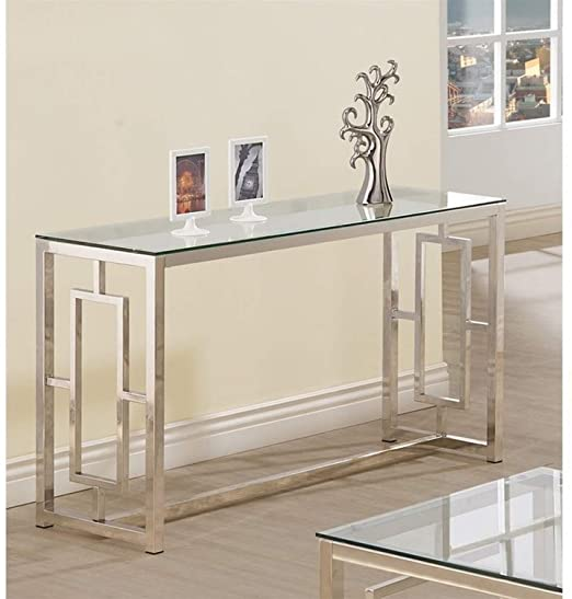 Amazon.com: Console Table for Entryway Glass Top Modern Hall Room .