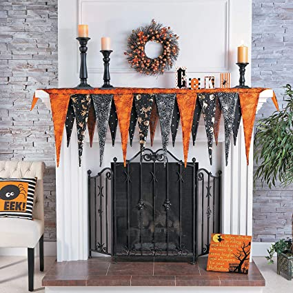 Amazon.com: Fun Express Halloween Fireplace Mantel Scarf (Over 6 .