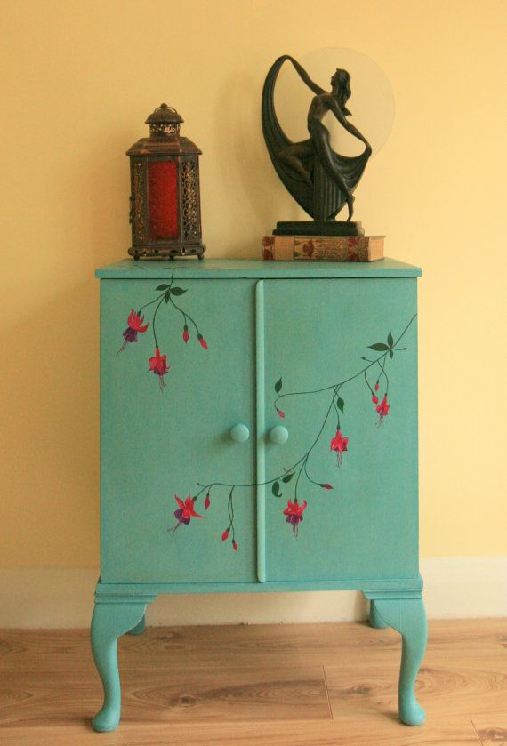 Beautiful Vintage Hand Painted Filing Cabinet Shabby Chic .
