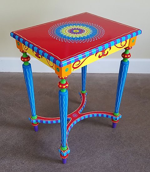 Hand Painted Furniture, Side Table | lisa-frick-arti