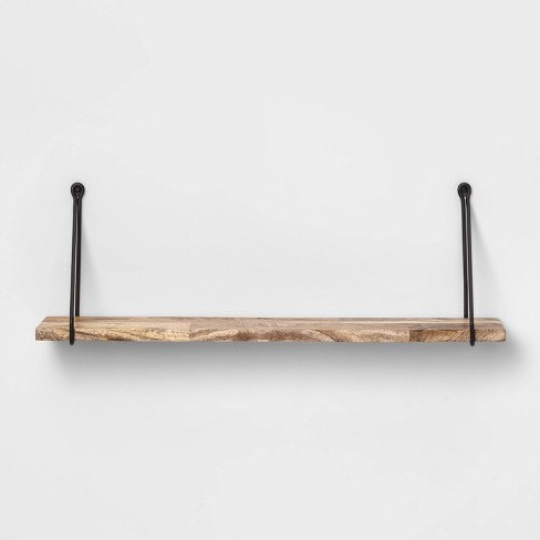Wood Wall Shelf With Hanging Wire Natural/Black - Threshold™ : Targ