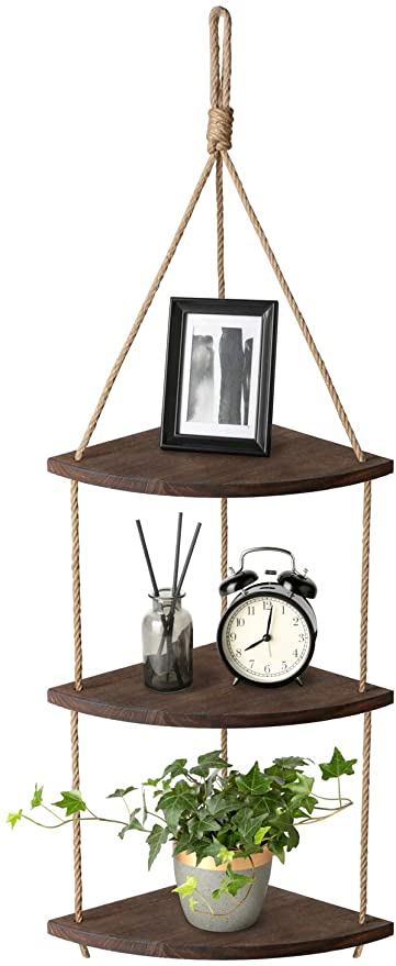 Amazon.com: Mkono Hanging Corner Shelf 3 Tier Jute Rope Wood Wall .