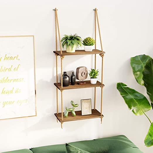 Amazon.com: BAMFOX Hanging Wall Shelves,Swing Rope Floating Shelf .