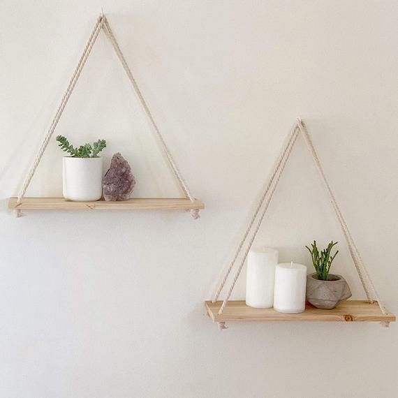 Hanging Shelves Set of 2 Distressed Wood Hanging Shelf with | Et
