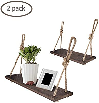 Amazon.com: Yankario Rope Hanging Floating Shelves, Rustic Wood .